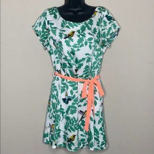 Hot & Delicious Bird and Leaf Print Dress Small